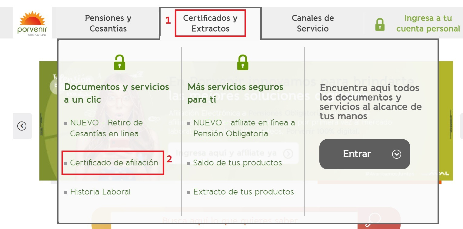 certificado de pension de porvenir